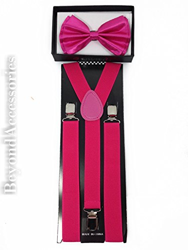 New Suspender Bow Tie Matching Colors Adults Unisex Formal - Halloween - Dark Pink Combo