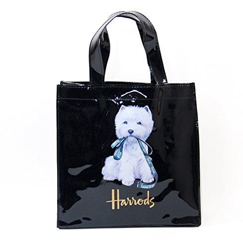 (ハロッズ) Harrods 正規品 PVC トートバック Harrods Westie Shopper Bag 黒 裏地付 1.Sサイズ