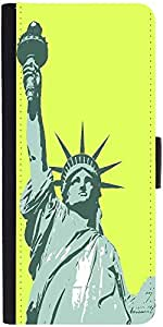 Snoogg Statue Of Liberty Graphic Snap On Hard Back Leather + Pc Flip Cover Sa...