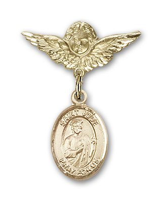 Gold Filled Baby Badge with St. Jude Thaddeus Charm and Angel w/Wings Badge Pin St. Jude Thaddeus is the Patron Saint of Desperate Situations