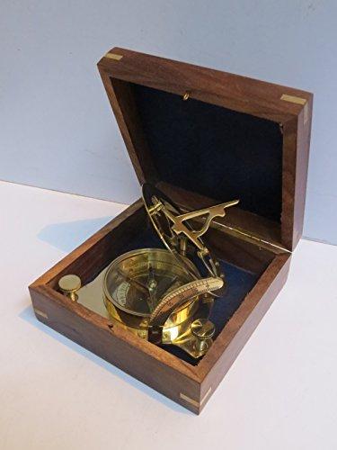 Captain Brass Sundial Compass with Hardwood Wooden Box Nauticalmart 1