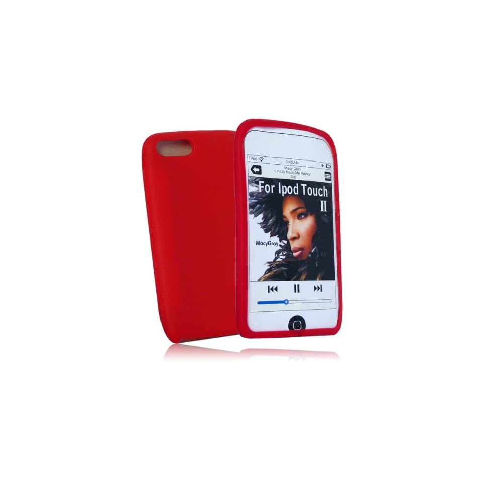 mobile palace  Red silicone case cover pouch holster for Apple ipod touch 3