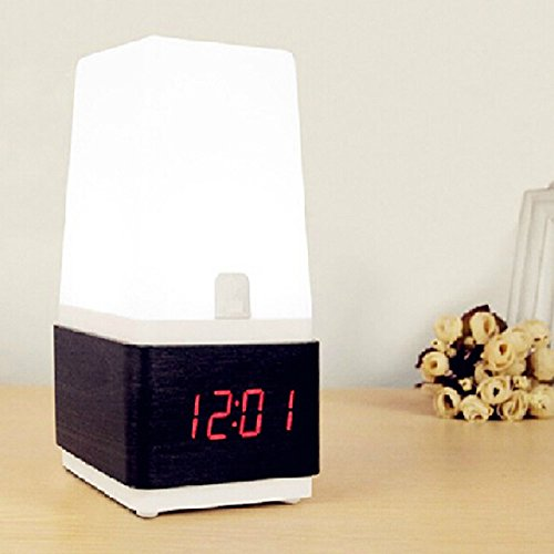 Glovion Digital Voice Control Led Alarm Table Wooden Clock& Table Desk Touch Light Lamp (Red Light(Black Base))