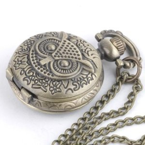 Vintage Style Quartz Owl Pocket Watch Pendant Necklace Long Chain & Gift Bag By Truly Charming®
