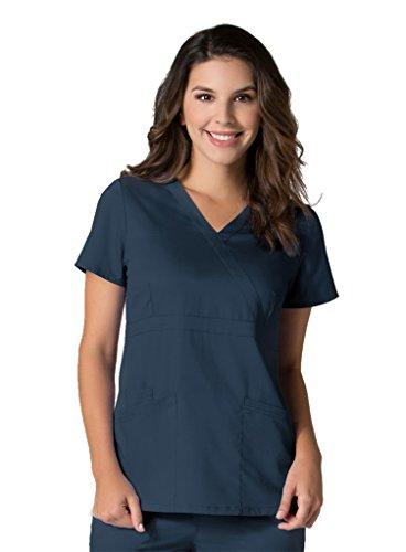maevn-womens-eon-back-mesh-panel-mock-wrap-scrub-top-true-navy-x-small