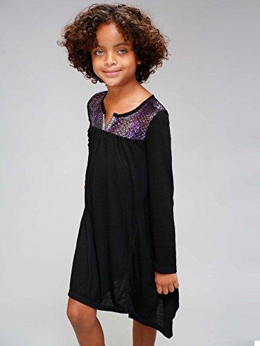 Truly Me Big Girls Tween Ombre Sequins Yoke Long Sleeve Dress, Black, 7-16 (7)