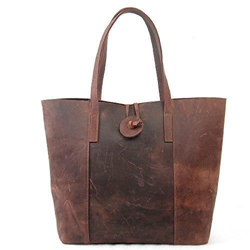 GSPStyle Sac à main bandoulière fourre tout en cuir pour femmes style de rétro - Khaki Marron