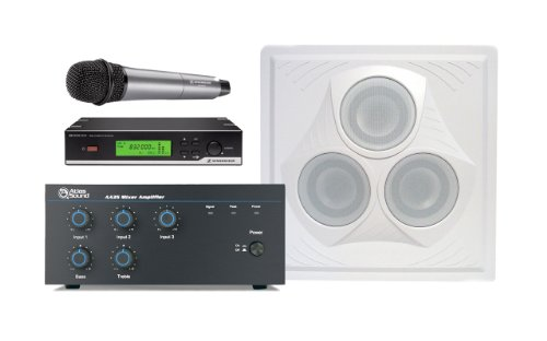 Wireless Conference Room Sound System 1 Vector Ceiling Speaker, Mixer Amplifier, Handheld Wireless Microphone