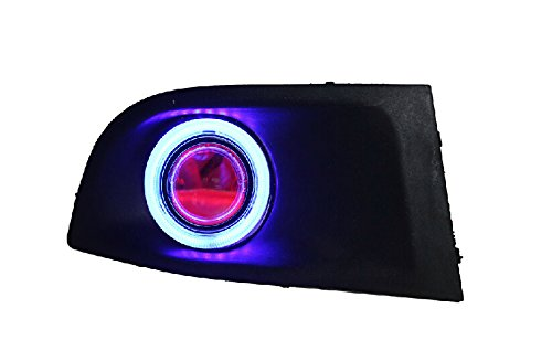 Auptech Car Fog Light Drl Daytime Running Lights With Ccfl Angel Eyes + Devil Eyes, Exact-Fit Fog Bumper Cover With Projector Lens For Nissan Sylphy