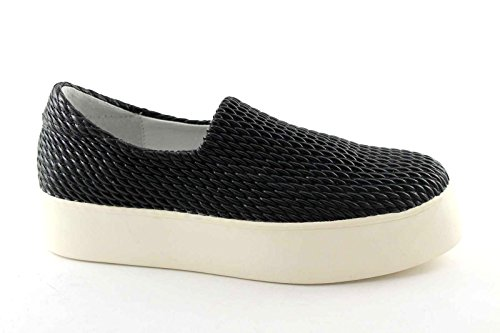 FRAU 37Y0 nero scarpe donna sneakers slip-on elasticizzata plateaux 40