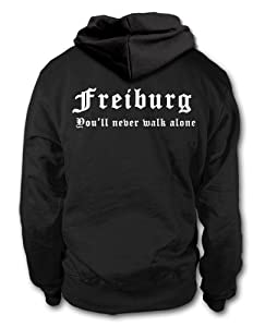 shirtloge - FREIBURG - You'll never walk alone - Fan Kapuzenpullover - Größe S - 3XL