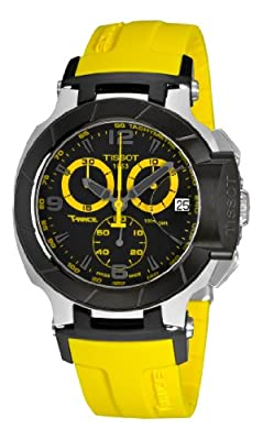 Tissot Men's T0484172705703 T-Race Quartz Yellow Strap Chronograph Dial Watch
