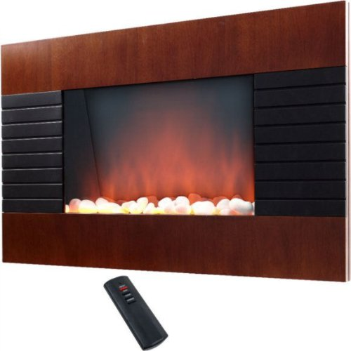 ProLectrix Wall Mountable Electric Fireplace w/ Mahogany Wood Finish photo B004CWMUKK.jpg