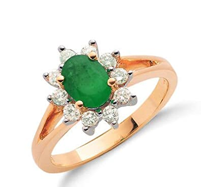 9ct Yellow Gold Real Emerald Cluster Ring With Diamond 1.15ctw