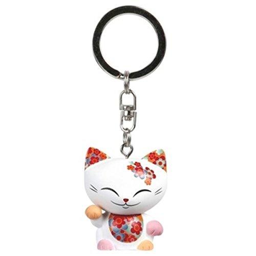 Porte clé chat porte bonheur Mani the Lucky Cat blanc collier framboise