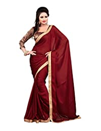 Bano Tradelink Women's Satin Saree (Maroon)
