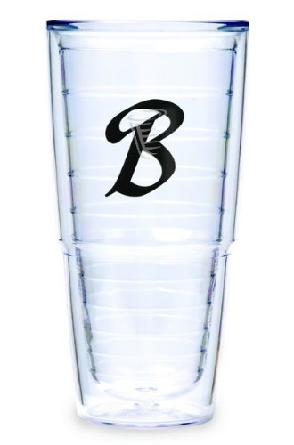 Tervis Tumbler Black Laser Twill Initial - B 24-Ounce Double Wall Insulated Tumbler Set Of 2 front-572455