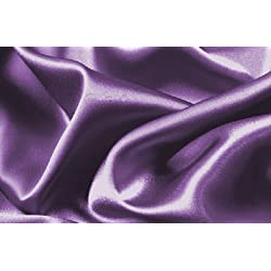 Soft Silky Satin Solid Purple 4pc Deep Pocket Sheet Set for Queen Bed