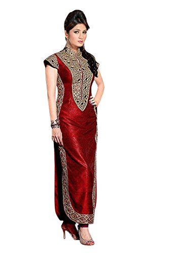 Sky Global Women's Red Art Silk Long Straight Unstitched Dress Material (Dress_156_FreeSize_Red)