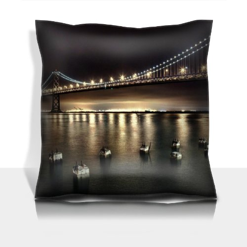 San Francisco Bridge Hdr Tone Mapped 100% Polyester Filled Comfort Square Pillows Customized Made To Order Support Ready Premium Deluxe 17 1/2 Inch X 17 1/2 Inch Liil Graphic Background Covers Designed Color Definition Quality Simplex Knit Fabric Soft Wri front-922248
