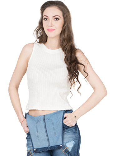 IRALZO Off White High Neck Crop Top for Women