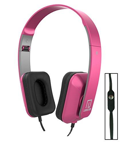 Langston ® Mediacom SmartPad 10.1 HD iPro111 / Mediacom SmartPad i10 3G Tablet Rosa Deep Bass Faltbare HD Kopfhörer (iM-8) mit Mikrofon und Fernbedienung