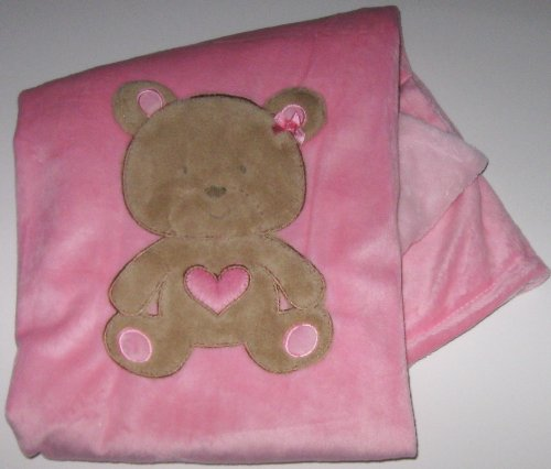 Shades of Pink Baby Blanket with Appliqued Plush Bear and Heart