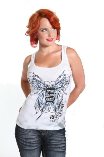Red Chapter Womens Live Life Ambigram White Beater Tank Womens Sizes: Large