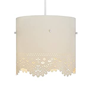 Beautiful Cream Shabby Chic Cut Out Patterned Cylinder Ceiling Pendant Light Shade