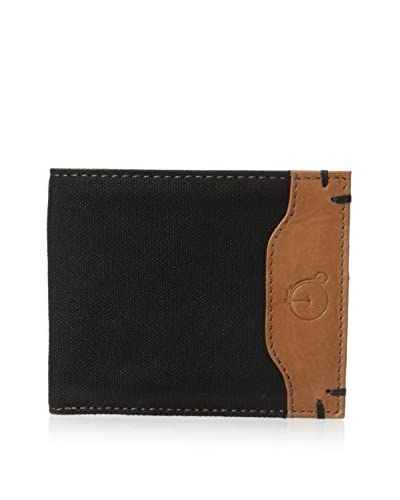 Maker & Company Men's Colored Canvas & Leather Bifold Wallet, Black