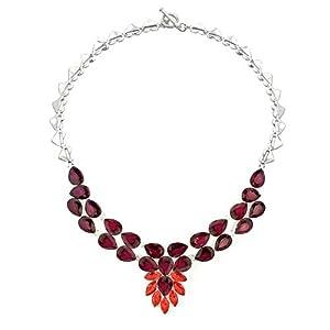 Pugster Chunky Bubble Garnet Red Teardrop Bib Statement Necklace Fashion Jewelry For Women