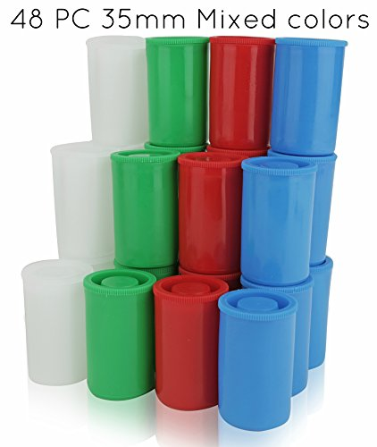 Homeio 35mm/41mm Film Canisters ''Multi-Color'' Red-Green-Blue-White Empty Photo Storage Containers with Airtight Lids - Use for Photo Negatives, Science Experiments, Geocaching, Travel (48, 35mm) (35mm Developer compare prices)