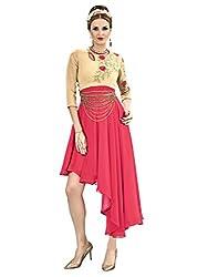 Kavvya Fashion Cream and Pink 60 Gram Georgette Designer Kurtis