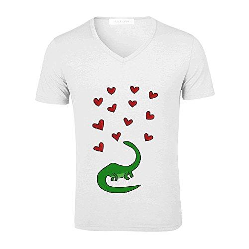 Ouerbo Dinosaur In Love V neck Polo T Shirts For Men White
