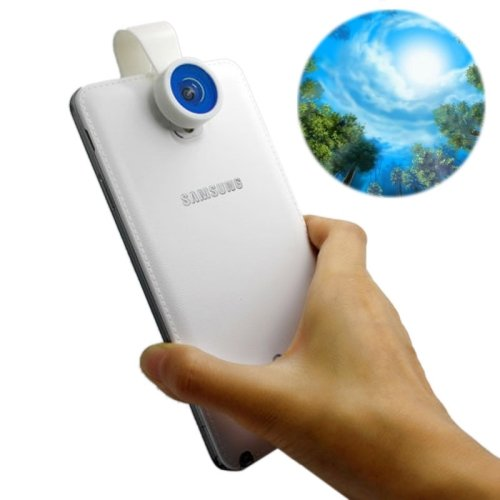 Universal 180 Degree Mobile Phone Camera Lens Fisheye Blue Devil Eye Clip Macro Lens, Compatible With Samsung Galaxy S5 / G900 / S4 / S3, Iphone 5 & 5C & 5S, Htc / Nokia / Sony Etc.