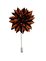 Avaron Projekt Handmade Brown & Black Striped Flower Lapel Pin /Brooch For Men