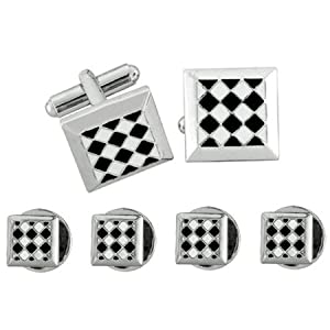 Square Shaped Tuxedo Stud Set with Black and White Checked Pattern