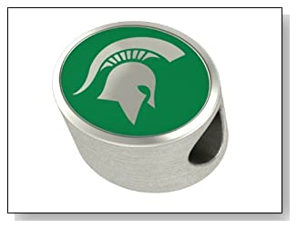 Michigan State Spartans MSU Jewelry Beads and Charms Fits Most Pandora Style Bracelets. High Quality Bead In Stock for Fast Shipping. Officially Licensed