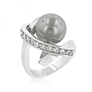 Genuine Rhodium Plated Ring Knotted with a Dark Grey Simulated Pearl Bordered by Round Cut Cubic Zirconia Polished into a Lustrous Silvertone Finish