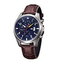 Men Luxury Sports Stainless Steel Round Dial Coffee Genuine Leather Strap Auto Mechanical Wristwatch