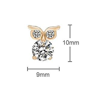 Romantic Time Lovely Night Owl Zirconia Novelty 18k Rose Gold Plated Stud Earrings
