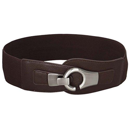 BMC High Waist Silver Brushed Metal Hook and Eyelet Buckle Wide Dark Brown Elastic Fashion Belt