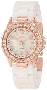 XOXO Women's XO2011 Swarovski Crystal Accented Rosegold-Tone White Ceramic Bracelet Watch