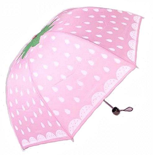 折りたたみ傘UV カット(04、ピンク苺)