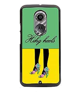 PRINTVISA Flihg Heels Premium Metallic Insert Back Case Cover for Motorola Moto X2 - D5873
