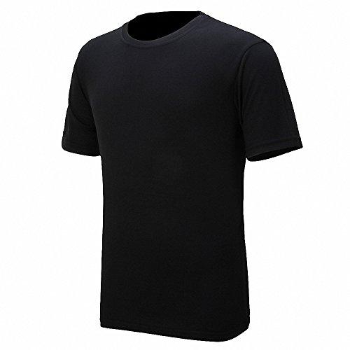 Maoko Mens Sports Short Sleeve Polyester T-Shirt,Running T Shirts for Boys Quick Drying Black