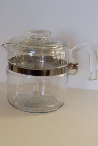 Vintage Pyrex 6 cup Coffee Pot w/ Glass Stem and Basket