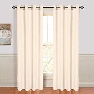 Lavish Home Olivia Jacquard Grommet Curtain Panel Cream Kitchen Home