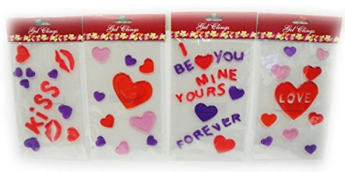 Set of 4 Packages of Valentine Window Gel Clings - 1
