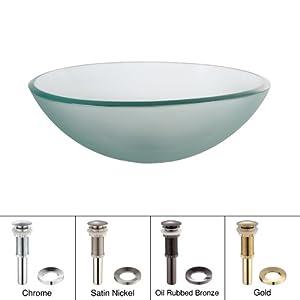 Kraus GV-101FR Frosted Glass Vessel Bathroom Sink